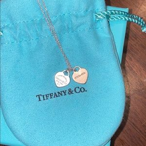 silver tiffany double heart necklace